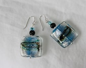 Turquoise, Silver & Black Glass Earrings