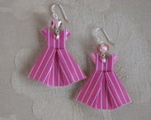 Pink Pinstriped Origami Dress Earrings