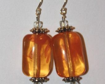Tangerine Orange Glass Earrings