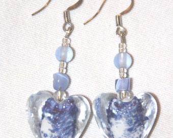 Delft Blue Glass Heart Earrings