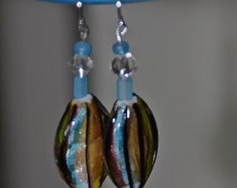 Turquoise and Copper Glass Earrings