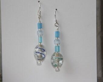 Blue Swirled Glass Bead Earrings