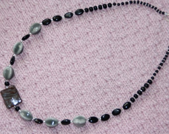 Black and Gray Glass Beaded Necklace
