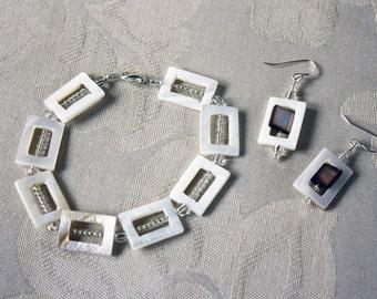 Art Deco Cream Shell Bead Bracelet & Earring Set