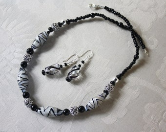 Black and White Tiger Striped Necklace and Black Glass Earring Set