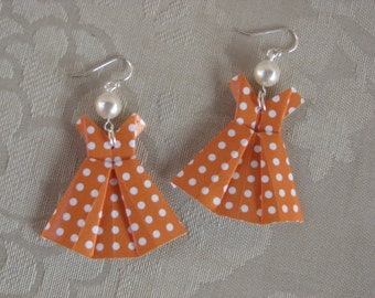Orange Polka Dot Origami Dress Earrings