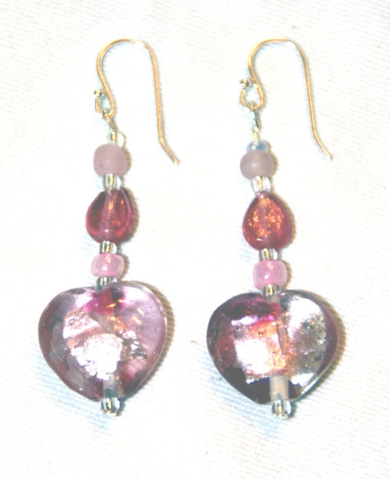 Soft Pink Glass Heart Earrings