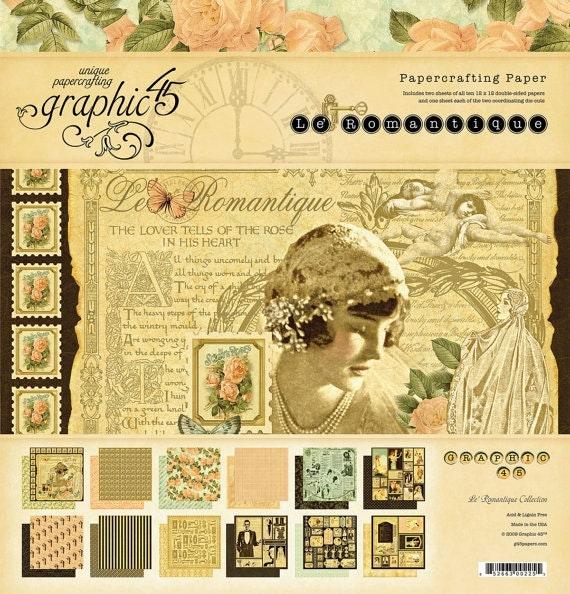 """Graphic 45's Le Romantique Collection Paper Sheets - 12"""" x 12"""""""