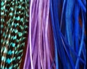 Feather Hair Extensions Purple Blue Turquoise Grizzly 9-12 inch 3 Extra Long Rooster Hair Feathers for Feather Extensions with Threader