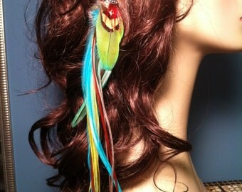 Bold Beautiful Blue Green Long Single Feather Earring AND Colorful Feather Hair Clip - wear 2 different ways