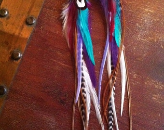 Colorful Feather Earrings Long Grizzly Rooster Feather Earrings with Purple, Turquoise, White, and Brown Feathers