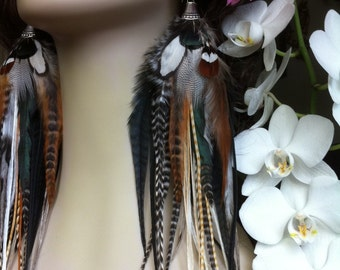 Feather Earrings Long, Queen Of The Forest, Goddess Feather Jewelry Natural Full Very Long Feather Earings