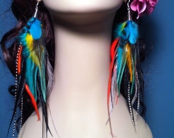 Colorful Feather Earrings Long - Unforgettable -  Handmade Feather Earings Hooks or Clip On Earrings Summer Unique Jewelry