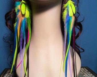 Long Feather Earrings Neon Rainbow Bright Statement Earrings Colorful Feather Earings, Rave Neon Jewelry