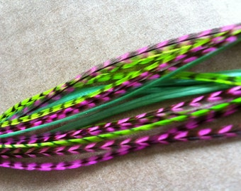 Bright Grizzly Feather Hair Extensions 9-11 inch Real Feathers for Feather Extensions Green And Pink Girls Hair Accessories Sale