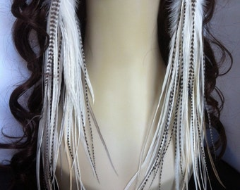 Handmade Extra Long White, Cream, Ginger, Grey, and Grizzly Feather earrings - Bridal Snow White - Rooster Feather Earrings Owlita Inspired