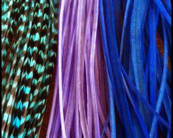 Feathers Extensions Blue Lilac 3 Long Rooster Hair Feathers Loose for Feather Hair Extensions Turquoise Grizzly, Purple, and Blue