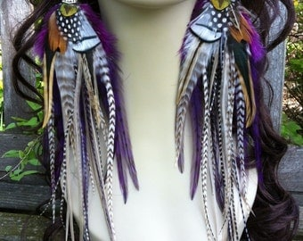 Long Feather Earrings Purple Princess, Big Thick Grizzly Feather Earrings, Summer Jewelry Feather Earings