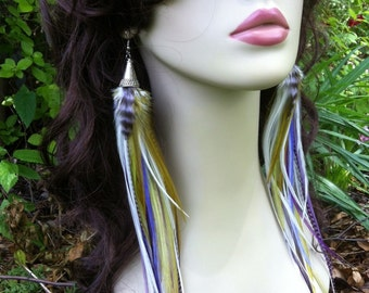 Long Feather Earrings Purple Olive White Pastel Feather Earings Fashion Feather Earrings, Feather Dangles