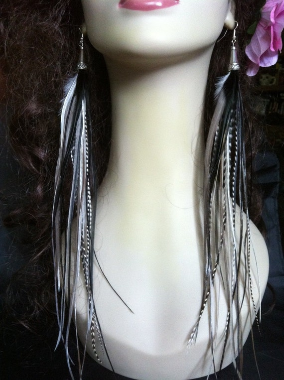 Feather Earrings Very Long - Grey and Black Night Diva Streamer Grizzly Feather Earings Feather Jewelry Sale Statement Earrings