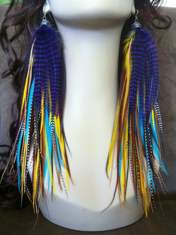 Super Long Feather Earrings - Owlita inspired - extra big full Rooster Feather Fringe Earrings Ready to ship Sale