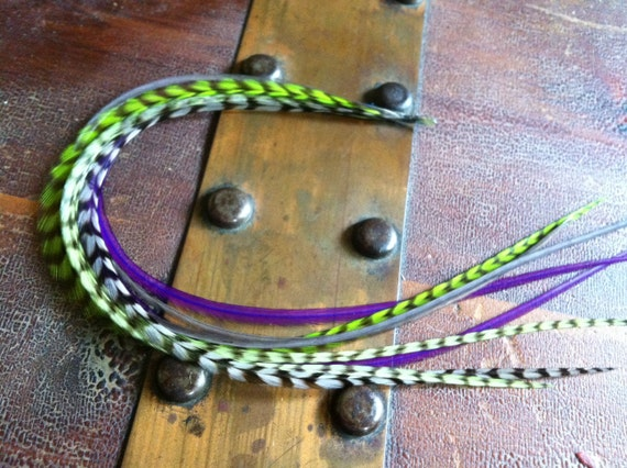 Long Feather Extensions 8 Hair Feathers Green, Grey Grizzly, Purple Feather Hair Extension Best Hair Accessory Feathers