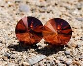 Super Sparklers Medium - Dark Mandarin Copper Swarovski Crystal Stud Earrings