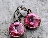 Sweet Rose Pink Earrings Swarovski Crystal Vintage Earrings Dangle Drop Rhinestone Earrings Savannah Super Sparklers Mashugana