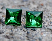 Kelly Green Swarovski Crystal Earrings Super Sparklers Medium Vintage Kelly Green Square Studs
