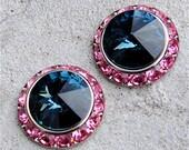 Swarovski Crystal Earrings - Sugar Sparklers - Montana Navy Blue, Sweet Rose Pink Crystal Rhinestone Studs