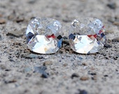 Clear Crystal Diamond Stud Earrings Swarovski Earrings Rounded Square Clear Crystal Diamond Stud Earrings Diamond Earrings Mashugana