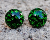 Vintage Glass Earrings - Kelly Green German Art Glass - Cover Stud Earrings