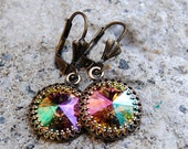 "Monet's ""Water Lily Pond"" Super Sparklers Victorian Queen & Brass Crown Swarovski Crystal Dangle Earrings"