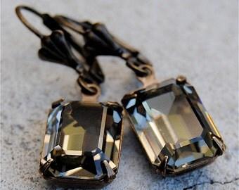Vintage Black Diamond Earrings Swarovski Crystals Earrings Rectangle Drop Rhinestone Dangle Earrings Duchess Rectangle Mashugana