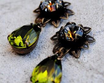 Olive Green Earrings Swarovski Crystal Vintage Earrings Romance du Matin Post Dangle or Clip on Rhinestone Earrings Duchess Flower Mashugana