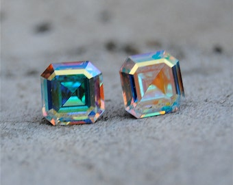 Rainbow Aurora Borealis Earrings Vintage Swarovski Crystal Rainbow Stud Earrings Square Cut Studs Mashugana