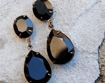 Black Bridesmaid Dangle Post Clip on Earrings Black Wedding Swarovski Crystal Bridal Jewelry Jet Rhinestone Earrings Vintage Duchess Earring