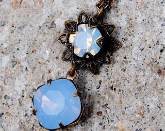 Swarovski Crystal Necklace - Sweet Sadie, Swarovski Crystal Sky Blue Opal and Vintage Brass Pendant Necklace