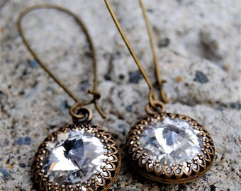 Clear Diamond Super Sparklers Victorian Queen Clear Diamond Swarovski Crystal & Antique Brass Crown Kidney Earrings Mashugana