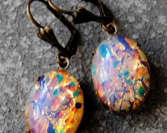 Vintage Opal Earrings German Glass Vintage Earings Oval Dangle Drop Earrings Duchess Oval Mashugana