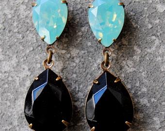 Green Milky Opal Black Rhinestone Earrings Swarovksi Crystal Drop Dangle Post or Clip on Tear Drop Earrings Duchess Hourglass Mashugana