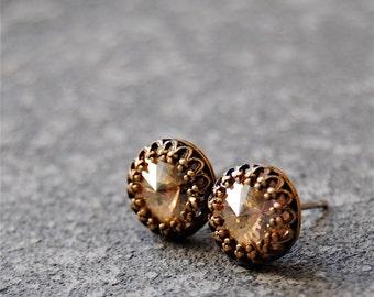 Champagne Diamond Stud Earrings Swarovski Crystal Beige Earrings Crown Victorian Mashugana
