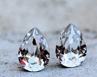 Clear Crystal Bridal Earrings Bride Wedding Swarovski Crystal Pear Earrings Diamond Studs Small Duchess Pear Mashugana