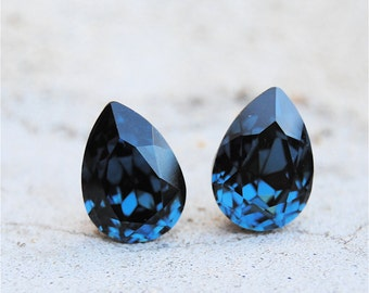 Navy Blue Bridesmaid Earrings Swarovski Crystal Montana Tear Drop Stud Clip on Wedding Jewelry Mother of the Bride Classic Navy Blue Studs