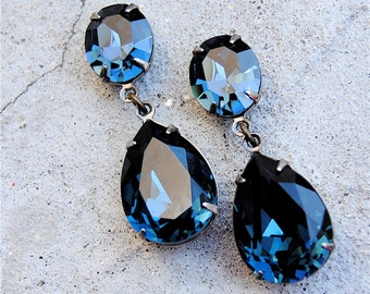 Vintage Navy Blue Earrings Swarovski Crystal Earrings Tear Drop Post Dangle or Clip on Rhinestone Pear Earrings Duchess Hourglass Mashugana