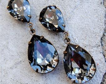 Gray Bridesmaid Earrings Rose Gold Drop Earrings Swarovski Crystal Double Pear Post Dangle Drop Clip on Stud Earring Rhinestone Dangles