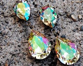 Lemon Ice Rainbow Earrings Swarovski Crystal Rainbow Dangle Earrings Duchess Hourglass Mashugana