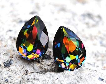 Rainbow Vitrail Swarovski Crystal Stud Small Duchess Pear Earrings Mashugana