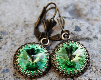 Peridot Green Dangle Earrings Super Sparklers Victorian Queen Swarovski Crystal Peridot Crown Earrings Mashugana