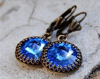 Sapphire Earrings Swarovski Crystal Cobalt Blue Dangle Earrings Victorian Queen Crown Earrings Mashugana